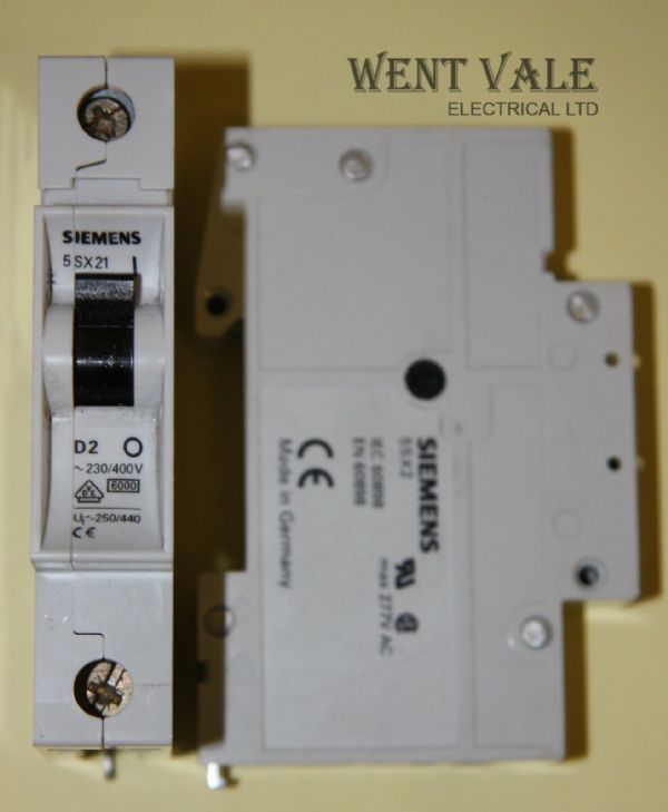Siemens N System - 5SX2 1D02 - 2a Type D Single Pole MCB Used